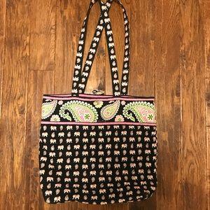 Vera Bradley Bags - Vera Bradley black and pink elephants tote bag